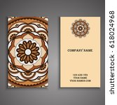 visiting card and business card ... | Shutterstock .eps vector #618024968