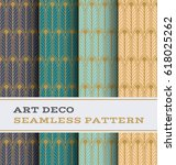 art deco seamless pattern with... | Shutterstock .eps vector #618025262