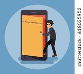 cyber thief  hacker  open the... | Shutterstock .eps vector #618025952