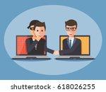 cyber thief  hacker  wearing a... | Shutterstock .eps vector #618026255
