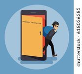 cyber thief  hacker  get out of ... | Shutterstock .eps vector #618026285