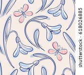 Seamless floral pattern with snowdrops and butterflies. Vector illustration - stock vector