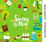 spring is here lettering... | Shutterstock .eps vector #618027356