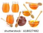 isolated honey. glass bowl  pot ... | Shutterstock . vector #618027482