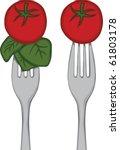 vegetables on a fork | Shutterstock .eps vector #61803178