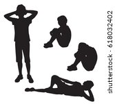 set of silhouettes of a... | Shutterstock .eps vector #618032402