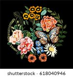 fashion flowers embroidery 2 | Shutterstock .eps vector #618040946