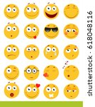 set of cute emoticons. emoji... | Shutterstock .eps vector #618048116