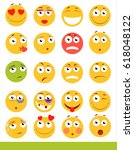 set of cute emoticons. emoji...   Shutterstock .eps vector #618048122