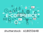 e commerce  online shopping and ... | Shutterstock .eps vector #618053648