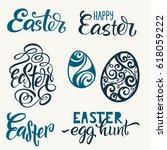 set of hand written happy... | Shutterstock .eps vector #618059222