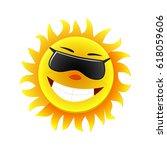 summer sun face with sunglasses ... | Shutterstock .eps vector #618059606