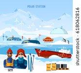 travel to antarctica concept.... | Shutterstock .eps vector #618062816