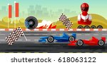racing cars on a start line... | Shutterstock .eps vector #618063122