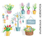 tulips  hyacinths and daffodils ... | Shutterstock .eps vector #618065426