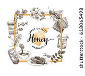 vector hand drawn honey... | Shutterstock .eps vector #618065498
