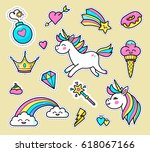 unicorn badge set. fashion... | Shutterstock .eps vector #618067166