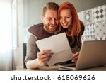 photo of young couple embracing ... | Shutterstock . vector #618069626