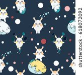 funny pattern with white easter ... | Shutterstock .eps vector #618072092