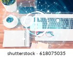 opened laptop and other office... | Shutterstock . vector #618075035
