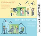 linear flat film making and... | Shutterstock .eps vector #618076046