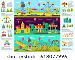 colorful amusement park... | Shutterstock .eps vector #618077996