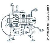 fantastic steampunk self...   Shutterstock .eps vector #618083855