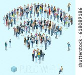people crowd shaped as sign of... | Shutterstock .eps vector #618089186