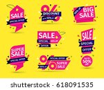 set of pink colored stickers... | Shutterstock .eps vector #618091535
