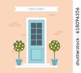 front door with orange trees... | Shutterstock .eps vector #618096356