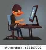 computer hacker man character... | Shutterstock .eps vector #618107702