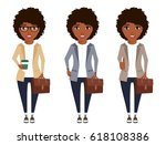 a girl of african descent in a... | Shutterstock .eps vector #618108386