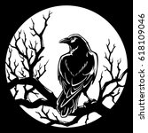 Black Crow Sitting At Night On...
