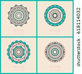 mandalas collection. round... | Shutterstock .eps vector #618114032