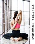 woman yoga   relax in studio... | Shutterstock . vector #618117116