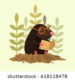 cute happy smiling mole... | Shutterstock .eps vector #618118478