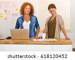 two happy businesswoman working ... | Shutterstock . vector #618120452
