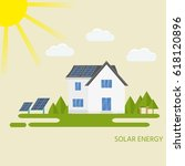 clean modern house with solar... | Shutterstock .eps vector #618120896