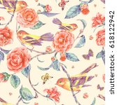 watercolor seamless pattern... | Shutterstock . vector #618122942