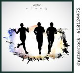 runner  sport vector... | Shutterstock .eps vector #618124472