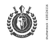 military symbol  spartan helmet ... | Shutterstock .eps vector #618126116