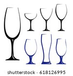 different glass for wine  juice ... | Shutterstock .eps vector #618126995
