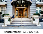 luxury five star hotel entrance ... | Shutterstock . vector #618129716