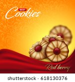 buttery cookies with red berry... | Shutterstock .eps vector #618130376