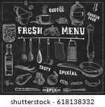 kitchen tools  food ingredients ... | Shutterstock .eps vector #618138332
