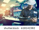 double exposure of  engineer or ... | Shutterstock . vector #618142382