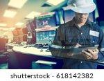 double exposure of  engineer or ... | Shutterstock . vector #618142382