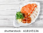 seafood platter with salmon... | Shutterstock . vector #618145136