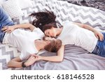 young loving couple in the bed. ... | Shutterstock . vector #618146528