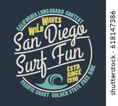 surfing t shirt graphic design. ... | Shutterstock .eps vector #618147386